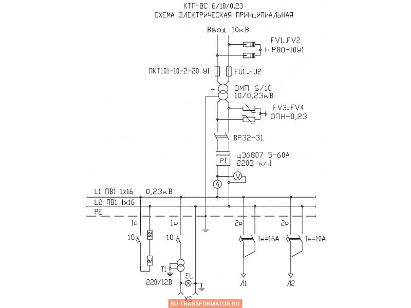Подстанция КТП-ВС 10/6 фото чертежи от завода производителя