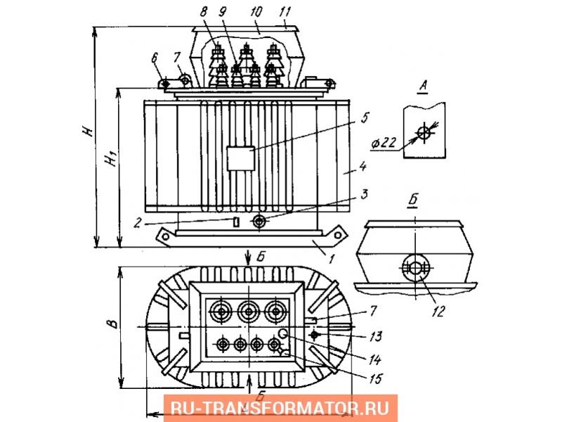 Трансформатор ТМБГ 400/6/0,4 фото чертежи от завода производителя