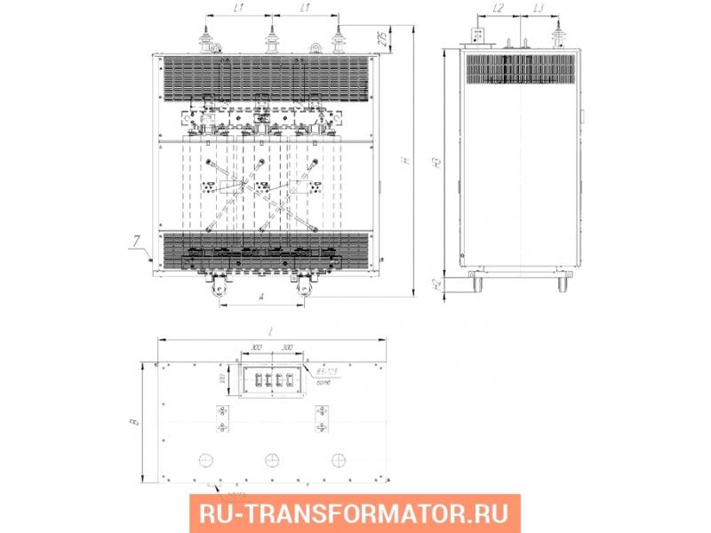 Трансформатор ТСЗЛ 1250/10/0,4 фото чертежи от завода производителя