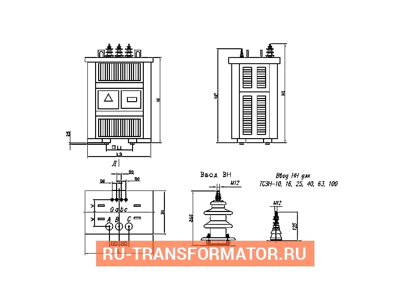 Трансформатор ТСЗН 250/10/0,4 фото чертежи от завода производителя