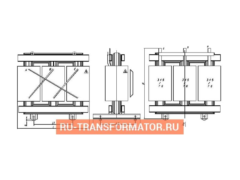 Трансформатор ТСГЛ 315/10/0,4 фото чертежи от завода производителя